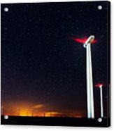 Milky Way Over The Wind Turbine Acrylic Print