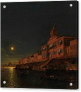 Moonlit Night On An Italian Lagoon Acrylic Print