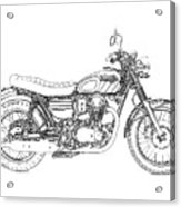 Motorcycle Art, Black And White Acrylic Print