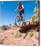 Mountain Biking The Porcupine Rim Trail Near Moab Acrylic Print