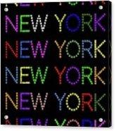New York - Multicoloured On Black Background Acrylic Print
