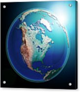 North America 3d Render Planet Earth Dark Space Acrylic Print