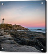 Ocean Lighthouse At Sunset Acrylic Print