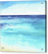 Ocean Watercolor Hand Painting Illustration. Acrylic Print