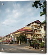 Old French Colonial Architecture In Kampot Town Street Cambodia Acrylic Print