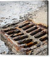 Old Rusty Street Grate Near The Sea In Cres Acrylic Print