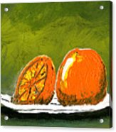2 Oranges On A White Plate Acrylic Print