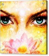 Pair Of Beautiful Blue Women Eyes Beaming Up Enchanting From Behind A Blooming Rose Lotus Flower Acrylic Print