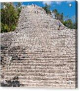 People Climbing Nohoch Mul At The Coba Ruins  Acrylic Print