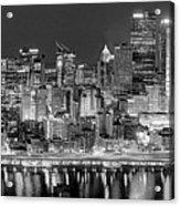 Pittsburgh Pennsylvania Skyline At Night Panorama Acrylic Print