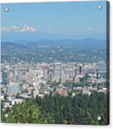 Portland Skyline With Mount Hood Acrylic Print