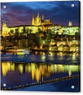 Prague Skyline At Sunset Acrylic Print
