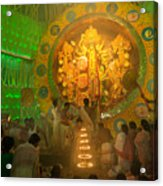 Priest Praying To Goddess Durga Durga Puja Festival Kolkata India Acrylic Print
