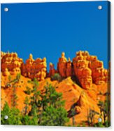 Rock Formations In Red Canyon Park In Utah. Acrylic Print
