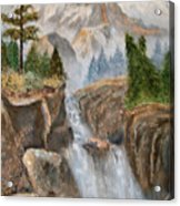 Rocky Mountain Waterfall Acrylic Print by Alanna Hug-McAnnally
