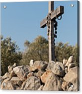 Rosary Hanging On A Small Wooden Cross On A Stone Wall Acrylic Print