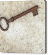 Rusty Key On Old Parchment Acrylic Print