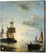 Sailing Ships At Dusk Acrylic Print