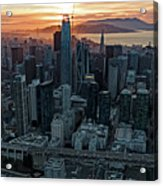 San Francisco City Skyline At Sunset Aerial Acrylic Print