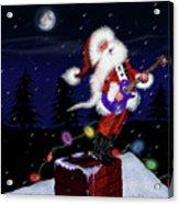 Santa Plays Guitar In A Snowstorm Acrylic Print