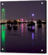 Skyline Of Dallas, Texas At Night Across Flooded Trinity River Acrylic Print
