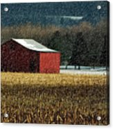 Snowy Red Barn In Winter Acrylic Print
