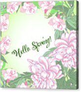Spring  Background With White And Pink Peony Acrylic Print