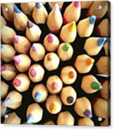 Stack Of Colored Pencils Acrylic Print