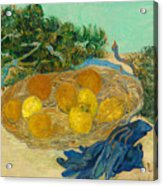 Still Life Of Oranges And Lemons With Blue Gloves Acrylic Print