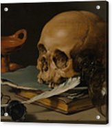Still Life With A Skull And A Writing Quill Acrylic Print