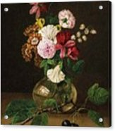 Still Life With Flowers In A Glass Vase And Cherry Twig Acrylic Print