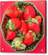 Strawberries In A Wooden Bowl On The Old Wooden Table Acrylic Print