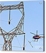 Stringing Power Cable By Helicopter Acrylic Print