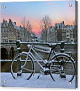 Sunset In Snowy Amsterdam In The Netherlands In Winter Acrylic Print
