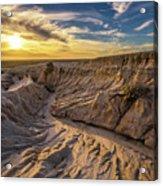Sunset Over Walls Of China In Mungo National Park, Australia Acrylic Print