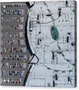Supermarket Roof And Many Cars In Parking, Viewed From Above. Acrylic Print