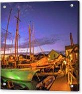 Tall Ships And Yahts Moored In Newport Harbor Acrylic Print