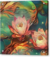 Teal And Peach Waterlilies Acrylic Print