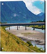 The Alte Rheinbrucke Across The River Rhine Between Liechtensti Acrylic Print
