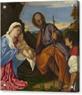 The Holy Family With A Shepherd Acrylic Print