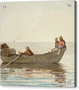 Three Boys In A Dory With Lobster Pots  Acrylic Print