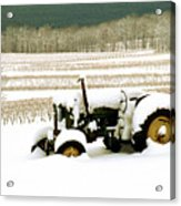 Tractor In Snowy Vineyard Acrylic Print