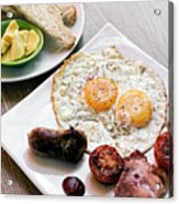 Traditional English British Fried Breakfast With Eggs Bacon And  Acrylic Print