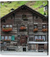 Traditional Swiss Alps Houses In Vals Village Alpine Switzerland Acrylic Print