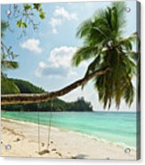 Tropical Beach At Mahe Island Seychelles Acrylic Print