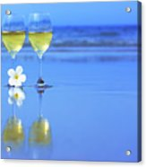 Two Glasses Of White Wine Acrylic Print by MotHaiBaPhoto Prints