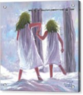 Two Sisters Jumping On The Bed  Acrylic Print