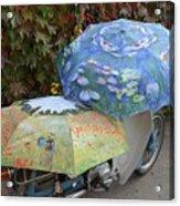 2 Umbrellas On Motorcycle  Acrylic Print