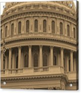 United States Capitol Building Sepia Acrylic Print