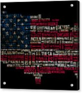 Usa Main Cities Flag Map Acrylic Print by Cedric Darrigrand